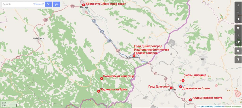 Местата, които ще бъдат обходени по време на уикиекспедицията Димитровград – Драгоман. Карта: OpenStreetMap | Лиценз: CC-BY-SA 2.0