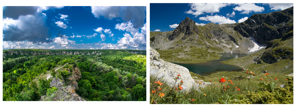 Ляво: Езеро Близнака, част от Седемте рилски езера в Национален парк Рила, Красимира Дечева - kdecheva, CC-BY-SA Дясно: Природен парк Русенски Лом, Interact-Bulgaria, CC-BY_SA